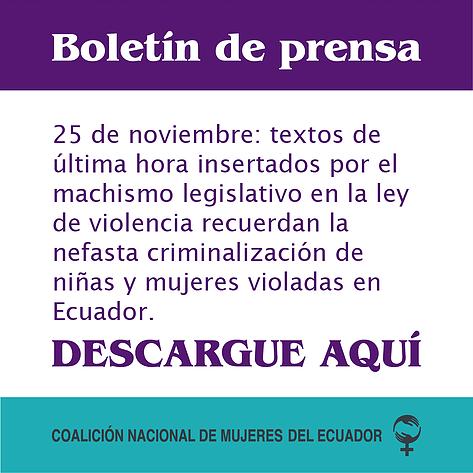 Manifiesto del Movimiento de Mujeres del Ecuador sobre la aprobación de la Ley Orgánica Integral para Prevenir y Erradicar la violencia contra las Mujeres.